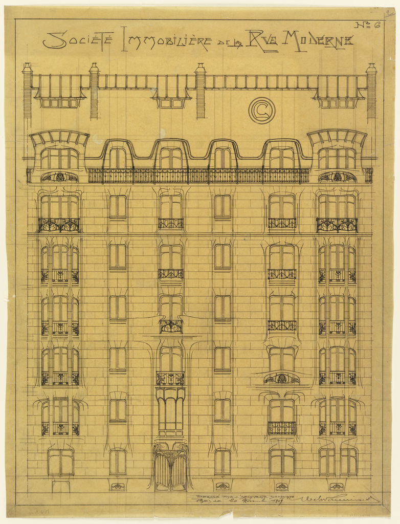 Design for the Facade of Societé Immobilière de la Rue Modern